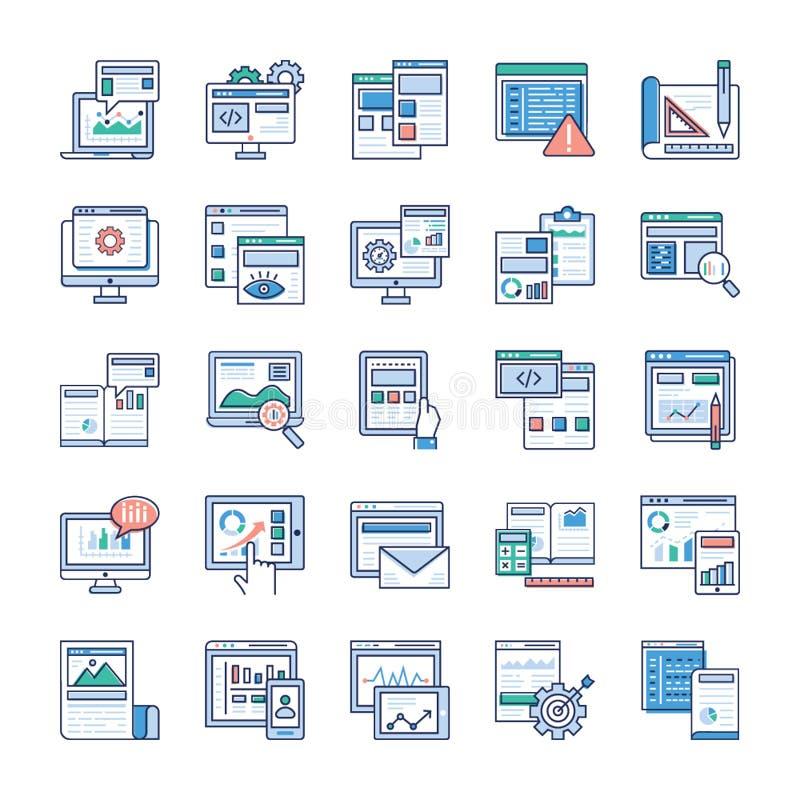 Les ?l?ments d'Infographic au sujet des ic?nes plates de d?veloppement de Web emballent illustration stock