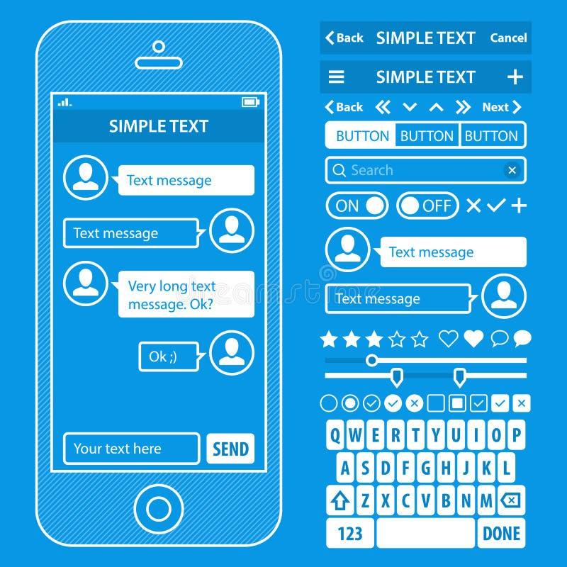 Les éléments d'UI blueprint le kit de vecteur de conception dans à la mode illustration stock
