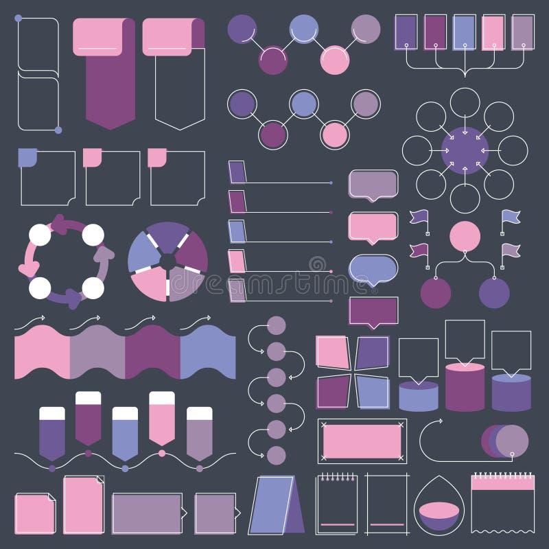 Les éléments de conception d'Infographic dirigent la collection, les objets de structure de diagramme et les visualisations illustration libre de droits