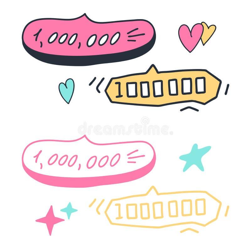 Les éléments de vecteur de croquis de griffonnage conçoivent des bulles de la parole de bannières de nombre du calibre million et illustration de vecteur