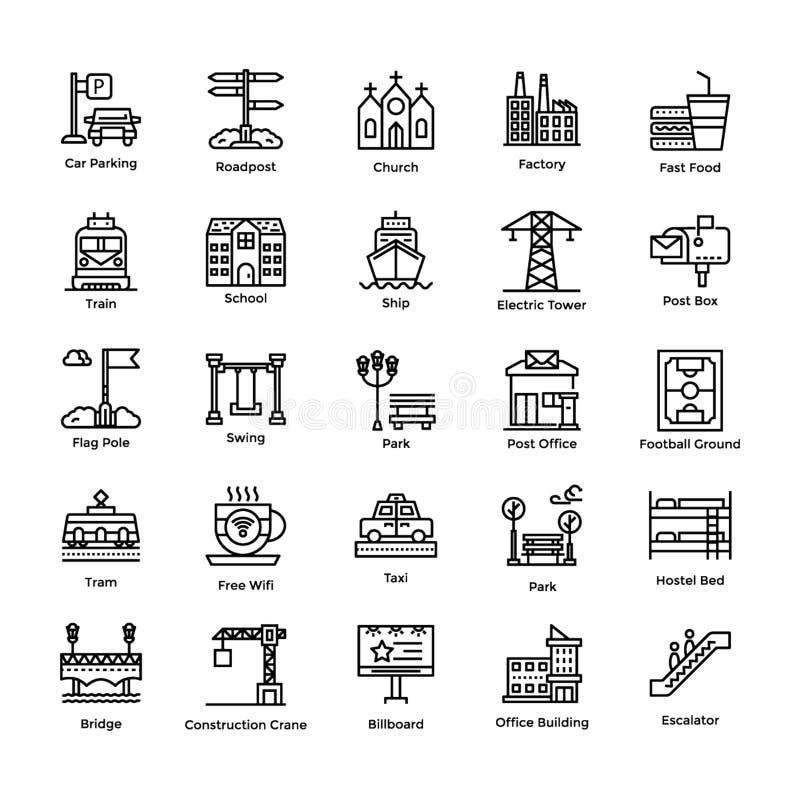 Les éléments de ville rayent l'ensemble d'icônes illustration stock