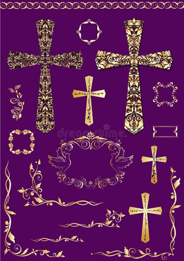 Les éléments de vintage et les croix d'or pour Pâques conçoivent illustration de vecteur