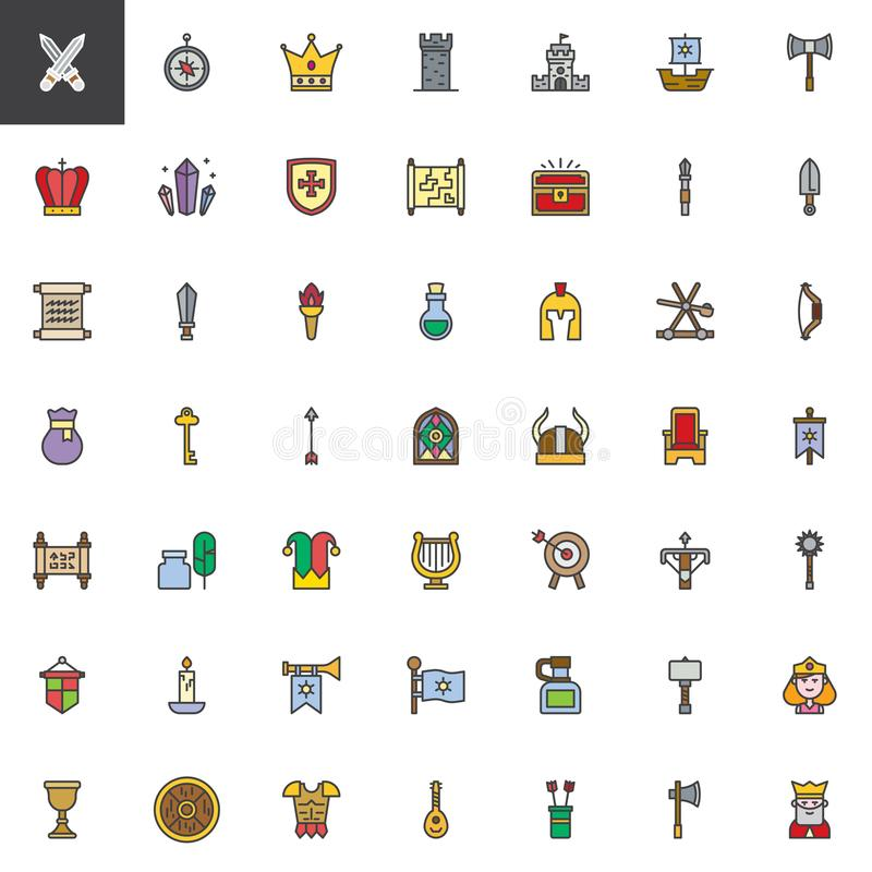 Les éléments médiévaux ont rempli icônes d'ensemble réglées illustration stock