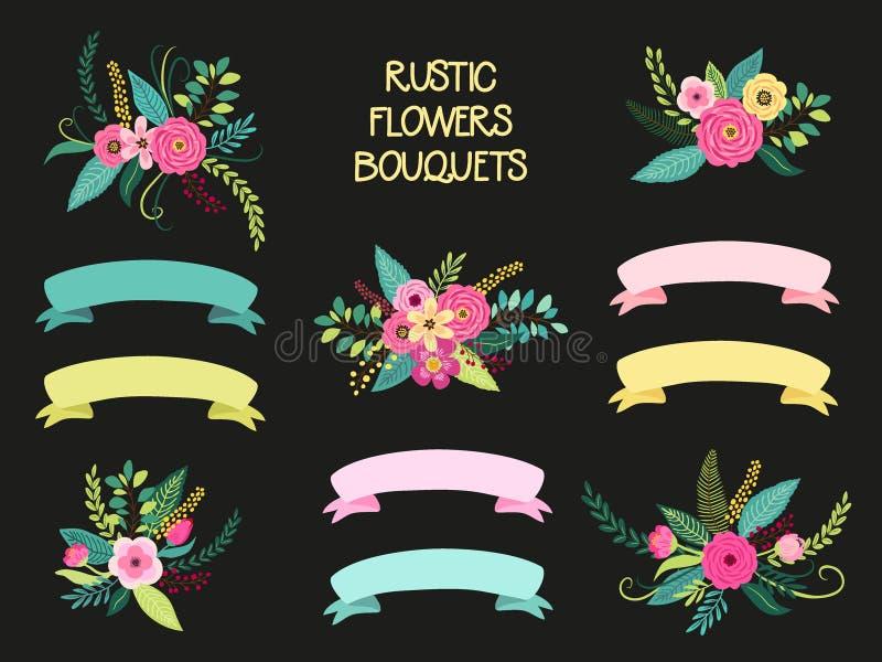 Les éléments mignons de vintage en tant que premier ressort tiré par la main rustique fleurit des bouquets illustration stock