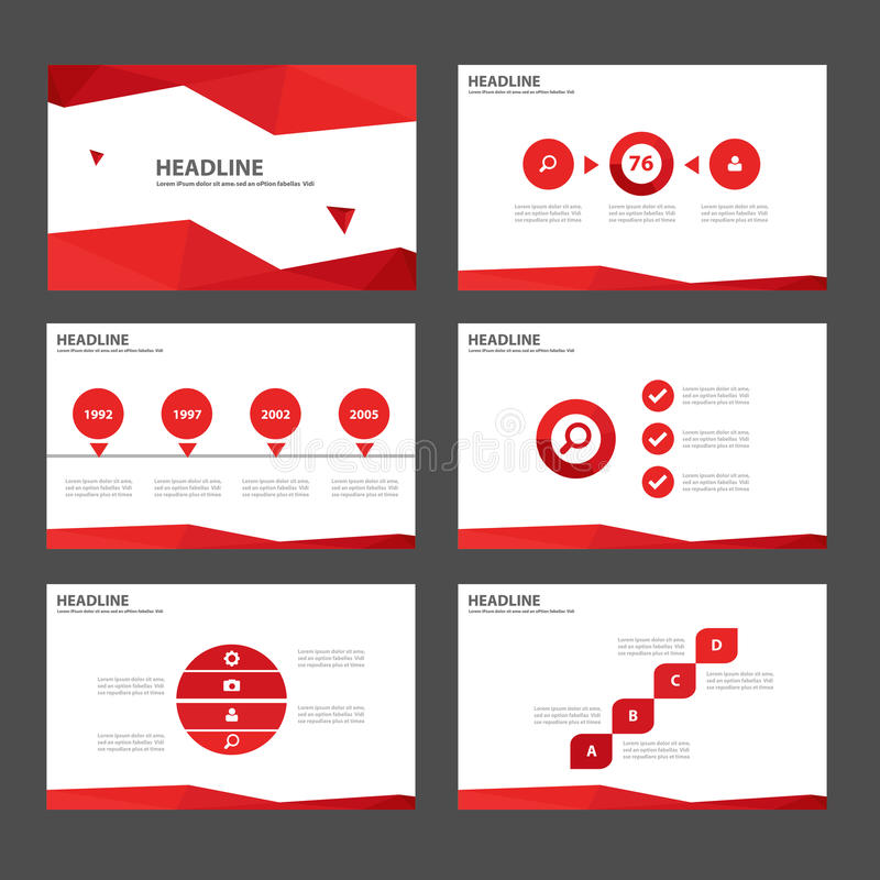 Les éléments universels rouges d'Infographic et la conception plate de calibre de présentation d'icône ont placé pour faire de la illustration de vecteur