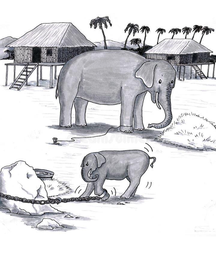 Les éléphants ont retenu le captif illustration de vecteur