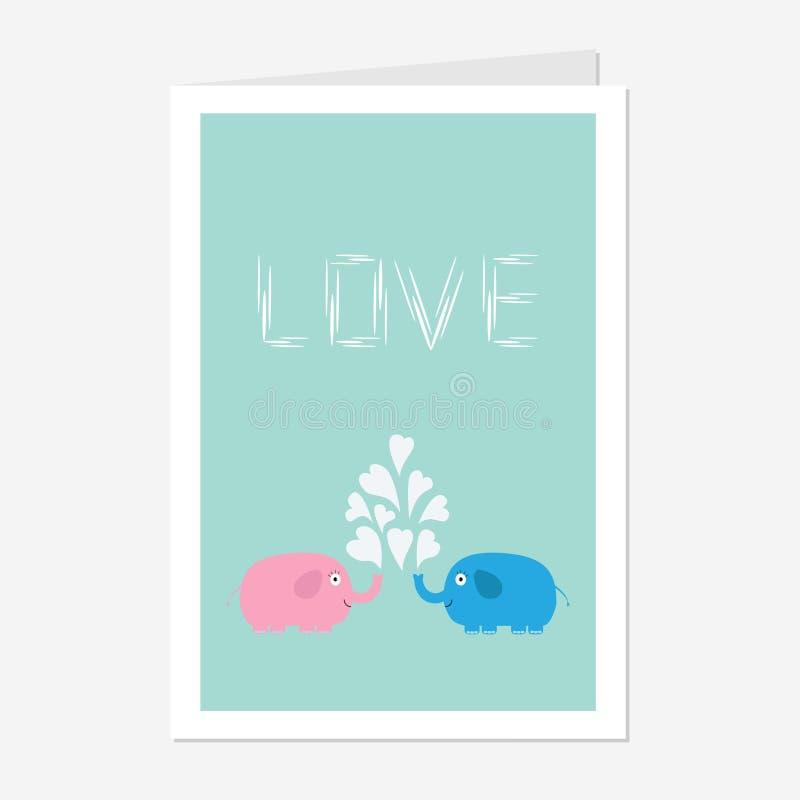 Les éléphants roses et bleus avec la fontaine de coeur aiment la conception plate de carte de voeux illustration libre de droits