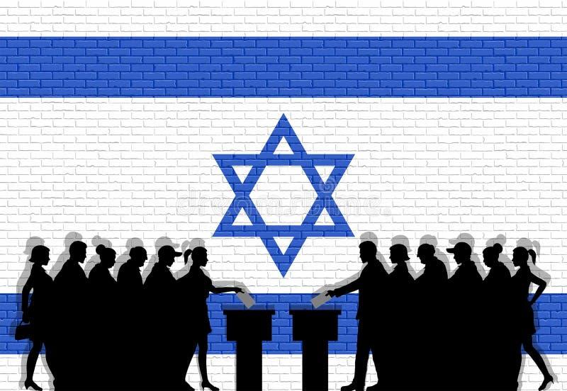 Les électeurs israéliens serrent la silhouette dans l'élection avec le graffiti de drapeau de l'Israël devant le mur de briques illustration de vecteur