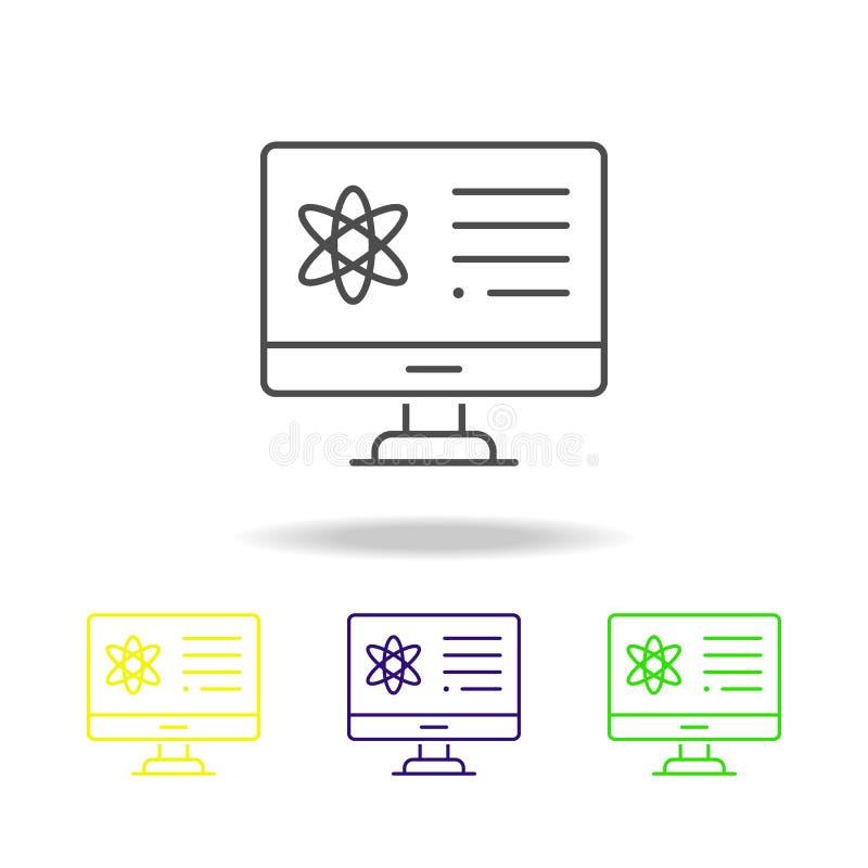 les électrons ont coloré des icônes Élément d'illustration de la science Illustration au trait mince pour la conception de site W illustration stock