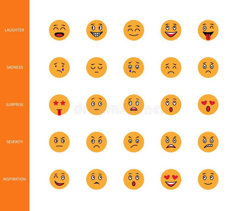 Les émoticônes conçoivent la ligne icônes de style font face à la bande dessinée souriante de symboles d'expression d'émotion de  illustration libre de droits