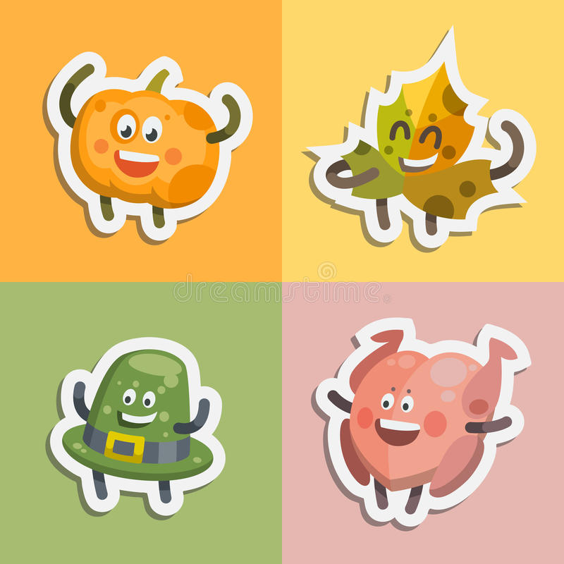 Les émoticônes ont placé des icônes d'autocollants pour le jour de thanksgiving illustration libre de droits