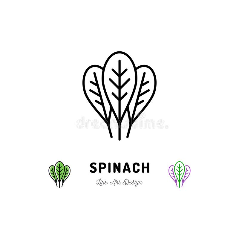 Les épinards laissent à des légumes d'icône l'épice de logo Mince conception de schéma illustration de vecteur
