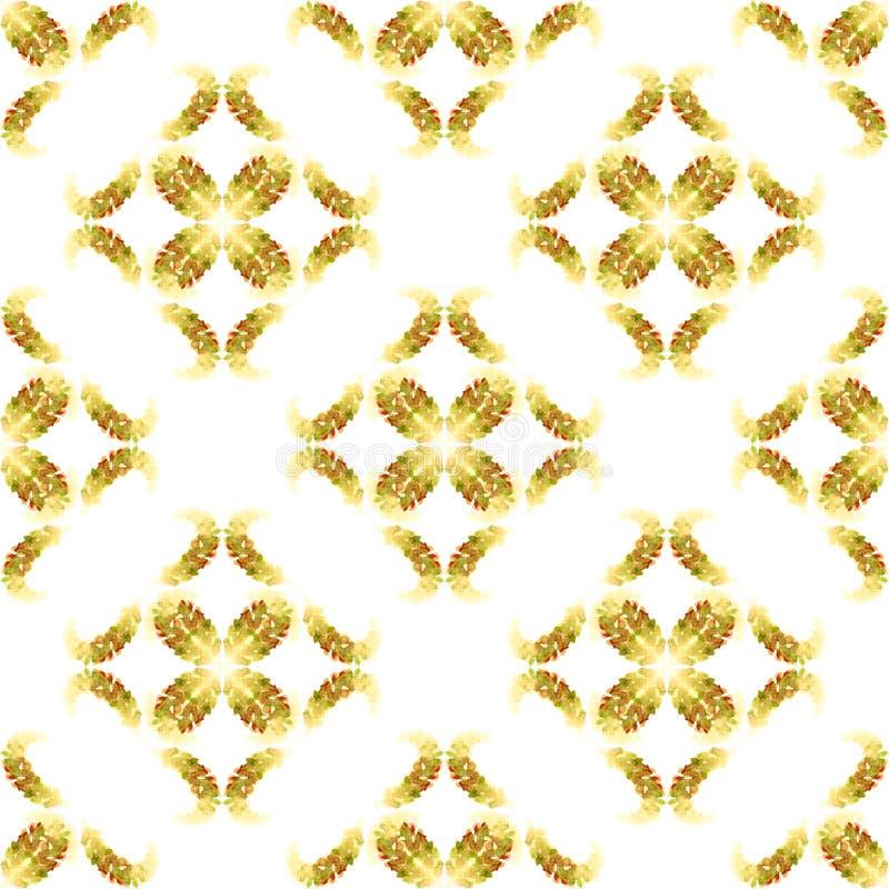 Les épis de blé modèlent les nuances brunes d'or beiges sans couture de losange de vintage d'automne de l'aquarelle légère d'isol illustration de vecteur