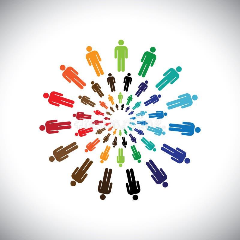 Les équipes ou les communautés multi-ethniques colorées de personnes se réunissent comme cercle illustration stock