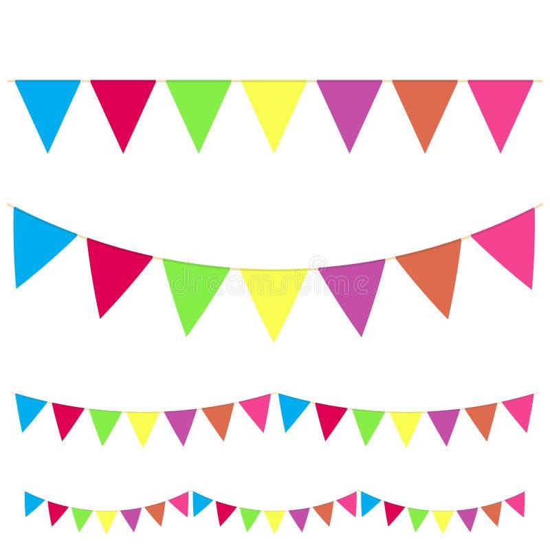 Les étamines accrochantes réalistes de couleur que le drapeau de guirlande a placé le type différent pour célèbrent des vacances  illustration stock