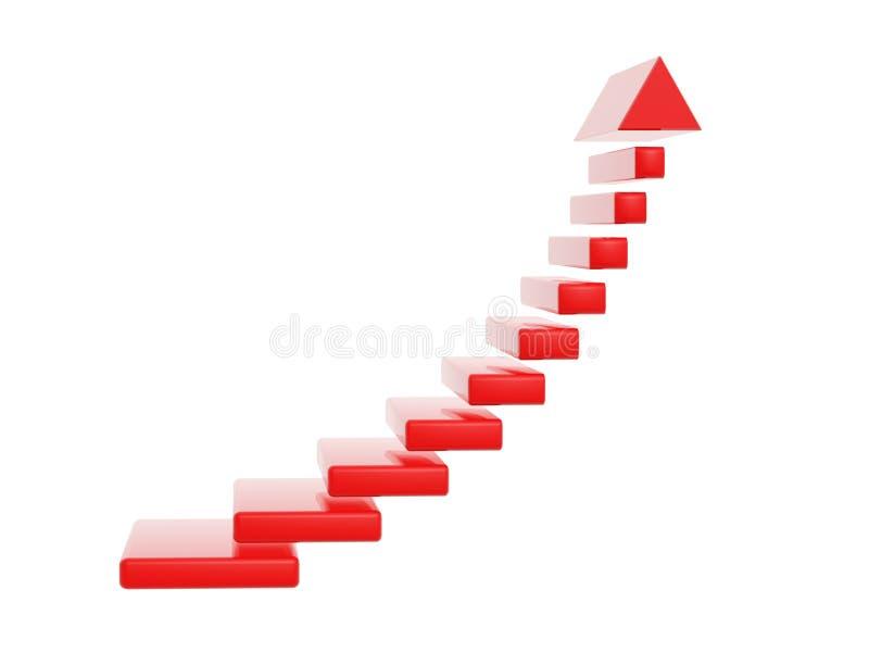 Les étapes rouges d'escalier grandissent la flèche illustration libre de droits