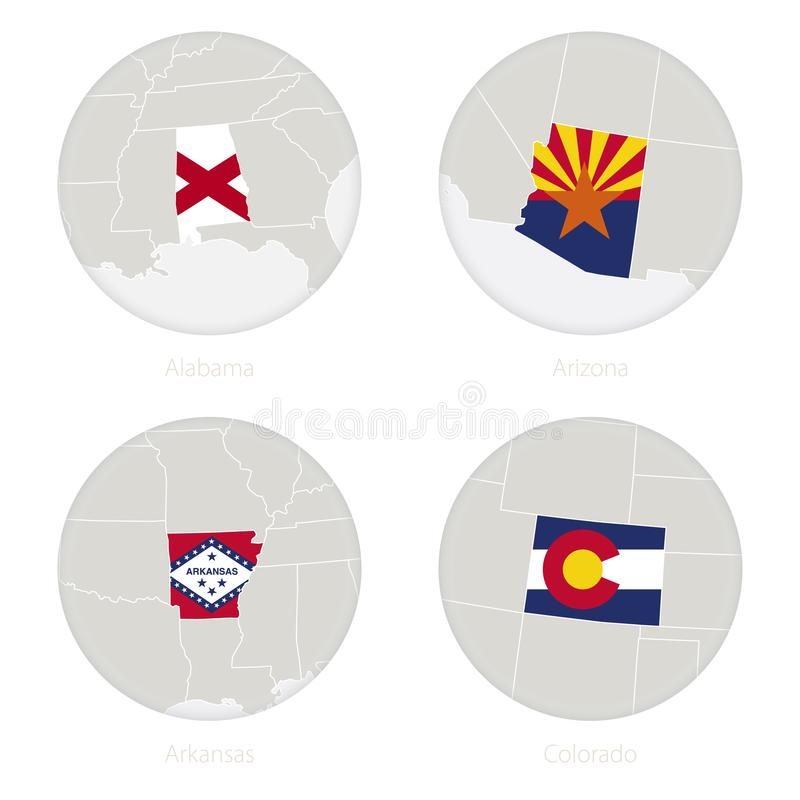 Les états de l'Alabama, Arizona, Arkansas, le Colorado USA tracent la découpe et le drapeau national en cercle illustration de vecteur