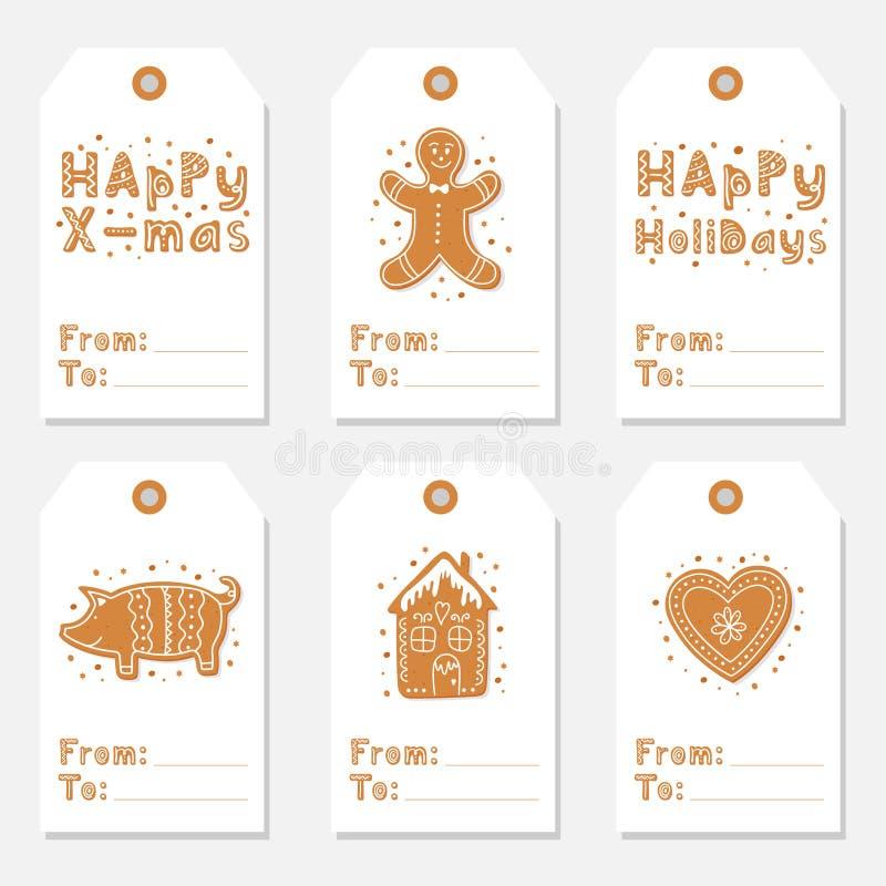 Les étiquettes de cadeau de vintage de Noël ont placé avec des biscuits de pain d'épice illustration libre de droits