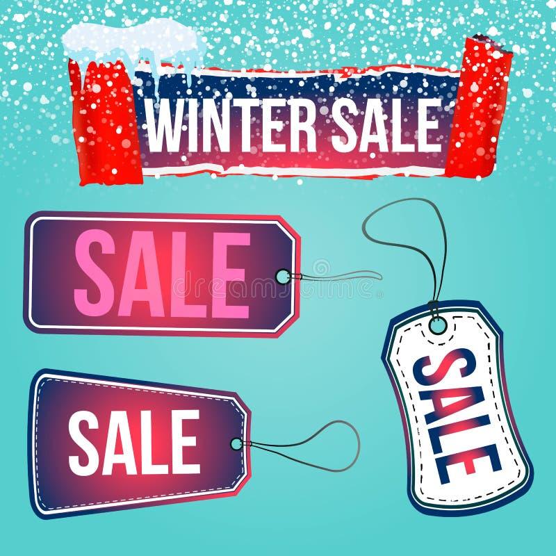 Les étiquettes de vente d'hiver réglées pour la saison stockent des promotions avec des labels dans la forme différente avec des  illustration stock