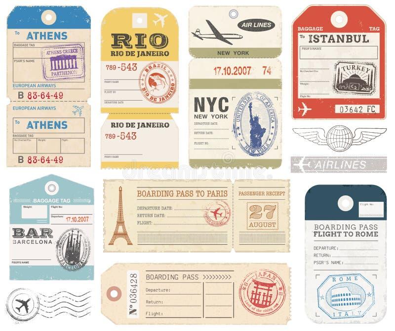 Les étiquettes grunges de bagage ont placé 1 illustration libre de droits