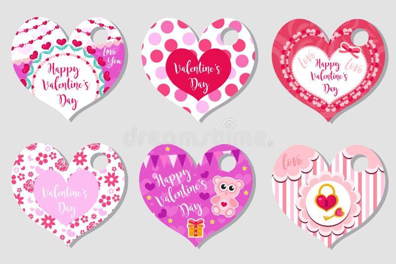 Les étiquettes heureuses de jour du ` s de Valentine ont placé sous forme de coeur Marque la collection avec le symbole mignon d' illustration stock