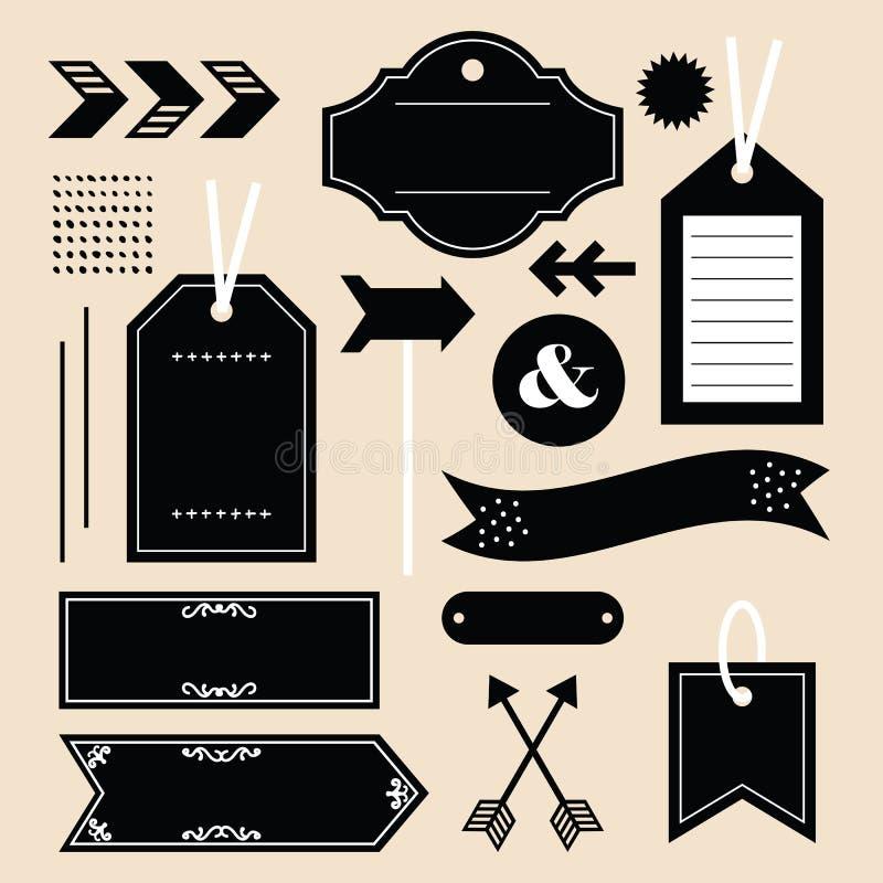 Les étiquettes, les labels, et les icônes vides noirs d'emblèmes conçoivent l'ensemble d'élément sur le rose illustration de vecteur