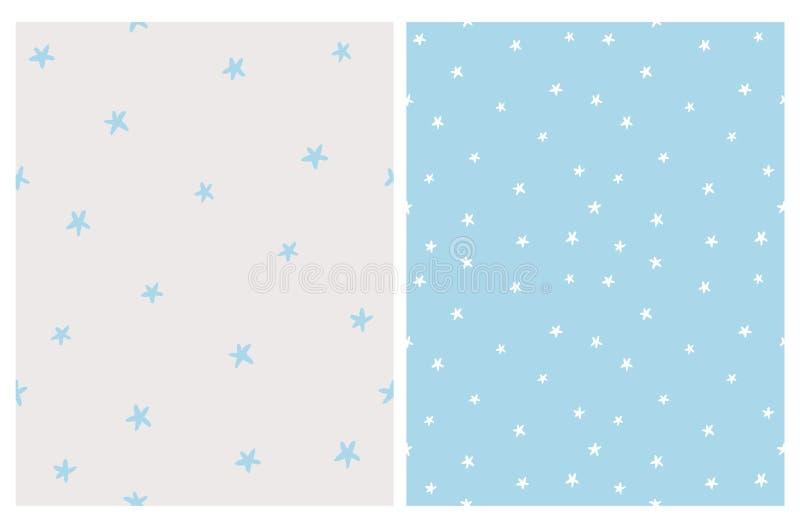 Les étoiles blanches ont isolé sur un fond bleu Étoiles bleu-clair sur gris-clair illustration de vecteur