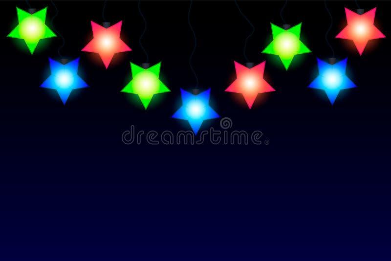 Les étoiles brillantes dirigent la guirlande Effets de la lumière de décorations de Noël Éléments de conception de vecteur illustration de vecteur