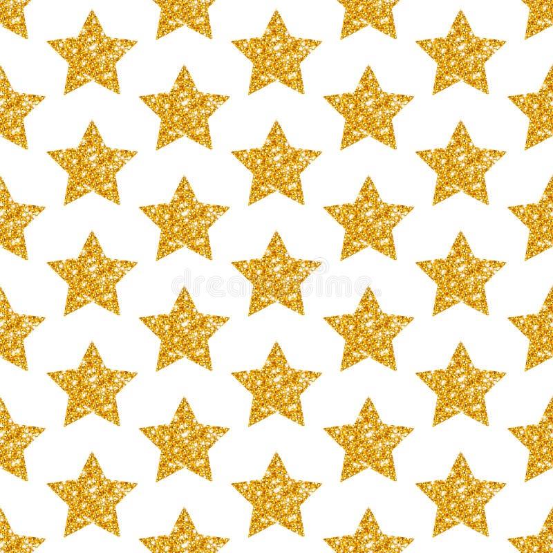 Les étoiles d'or géométriques de modèle sans couture scintillent miroitant illustration de vecteur