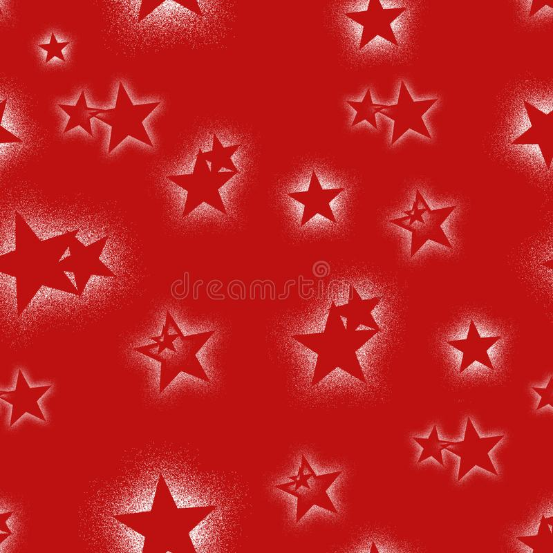 Les étoiles de Christmass répètent le fond rouge de modèle sans couture Peut être employé pour le tissu, papier peint, papeterie, illustration libre de droits