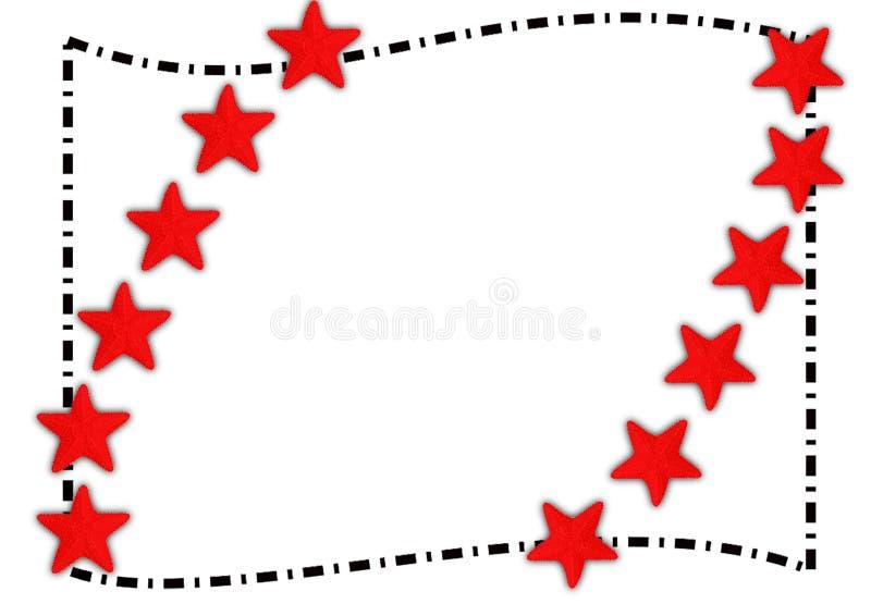 Les étoiles de mer rouges encadrent le cadre d'été photo stock