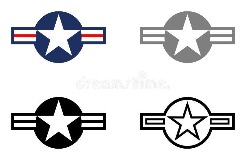 Les étoiles et les barres militaires - montrez l'oiseau et le gris tactique sur le fond blanc illustration de vecteur