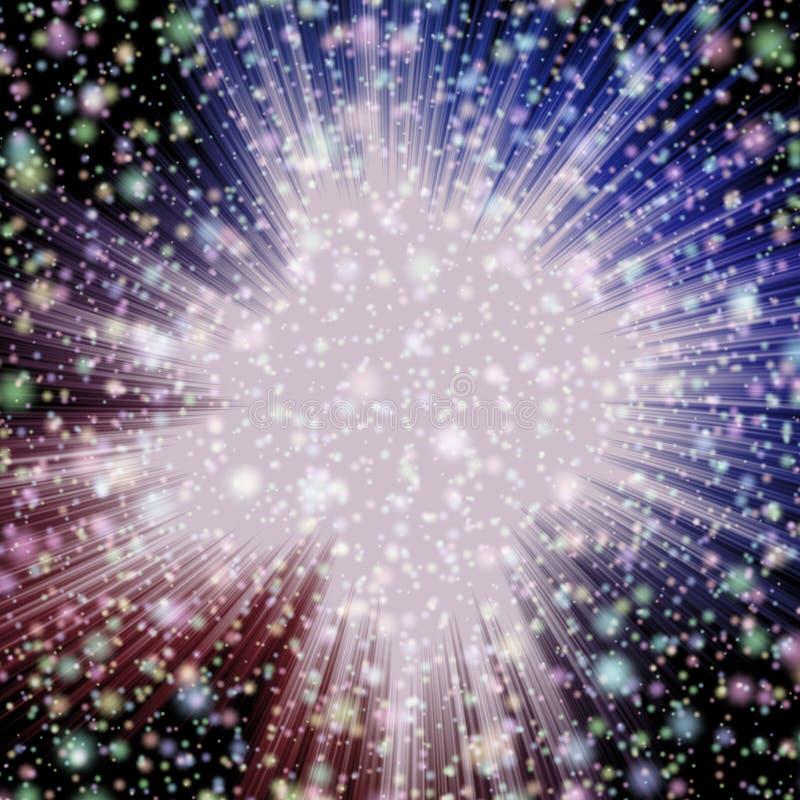 Les étoiles fulminent en univers avec les nuages pourpres et rouges et beaucoup d'étoiles en univers, étoiles colorées illustration de vecteur