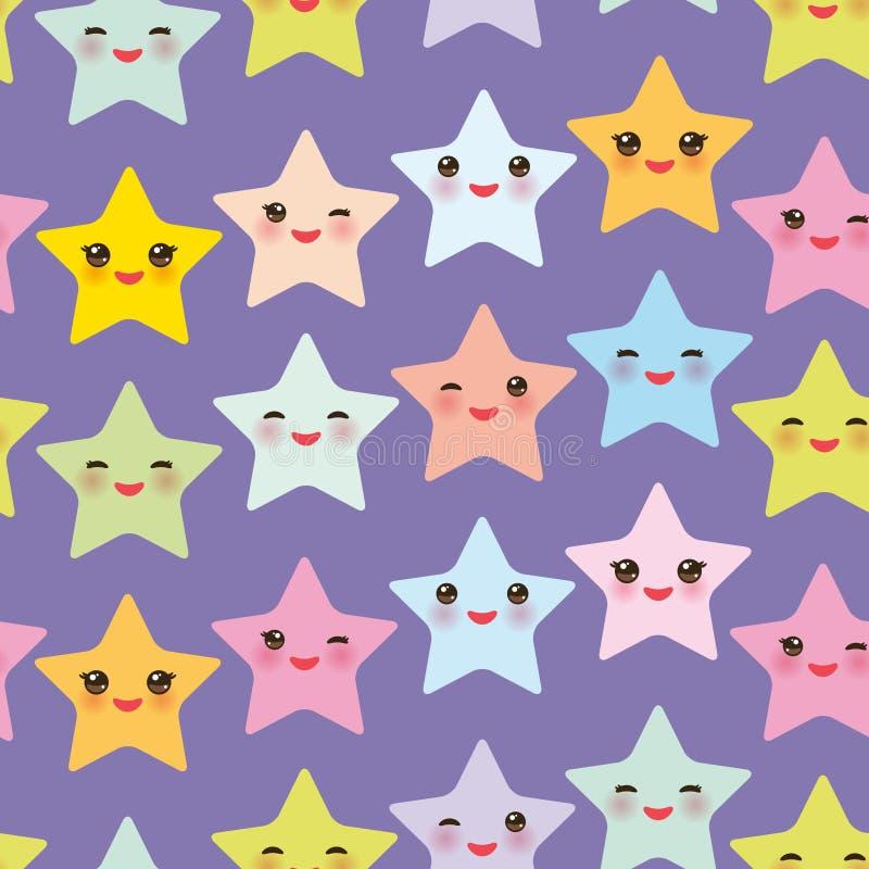 Les étoiles sans couture de Kawaii de modèle ont placé, visage avec des couleurs en pastel jaunes pourpres vert-bleu roses de yeu illustration de vecteur