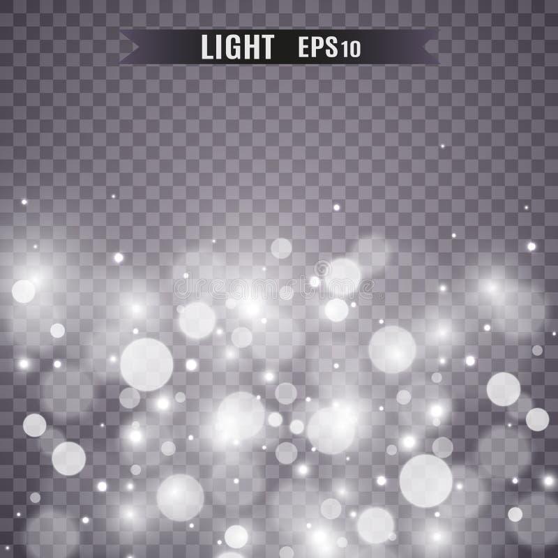 Les étoiles scintillent effet de la lumière spécial Le vecteur miroite sur le fond transparent Mod?le abstrait de No?l photographie stock libre de droits