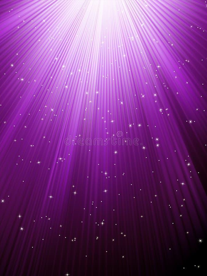 Les étoiles tombent sur les rayons lumineux pourprés. ENV 8 illustration stock