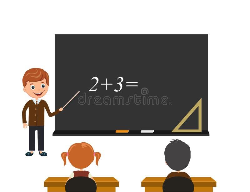 Les étudiants regardent le conseil et écoutent la leçon La leçon de maths un exemple est écrite sur un conseil noir illustration stock