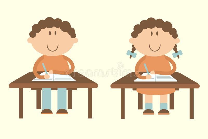 Les étudiants s'asseyent aux bureaux illustration libre de droits
