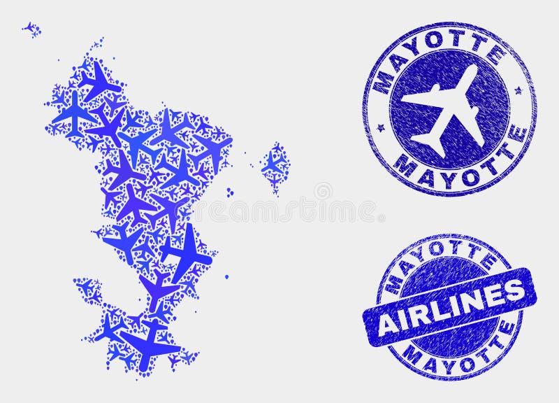 Les îles à trajectoire aérienne de Mayotte de vecteur de mosaïque tracent et les timbres grunges illustration stock