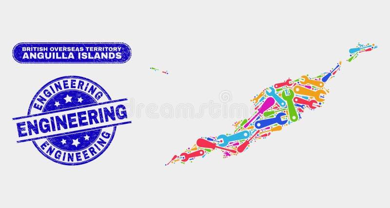 Les îles d'Anguilla de productivité tracent et les timbres rayés d'ingénierie illustration de vecteur