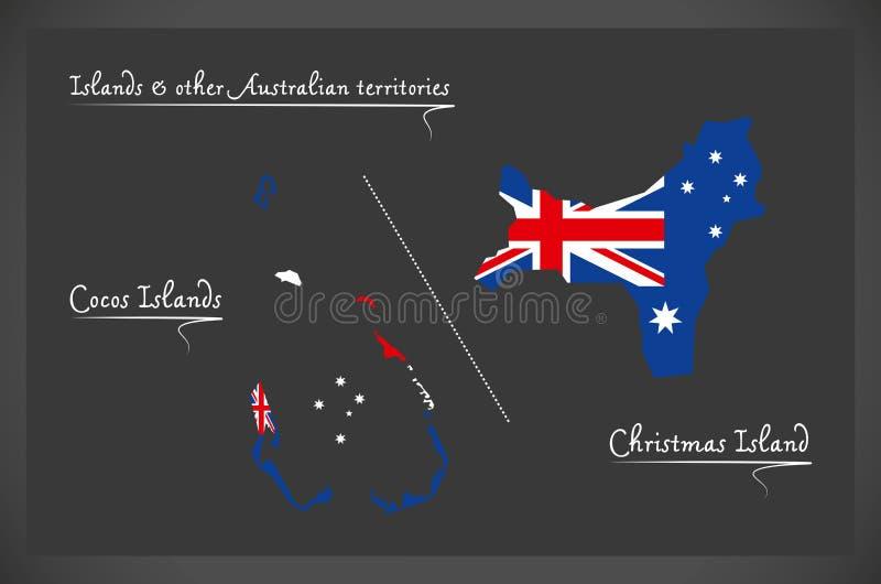 Les îles de Cocos et l'Île Christmas tracent avec le ressortissant australien illustration stock