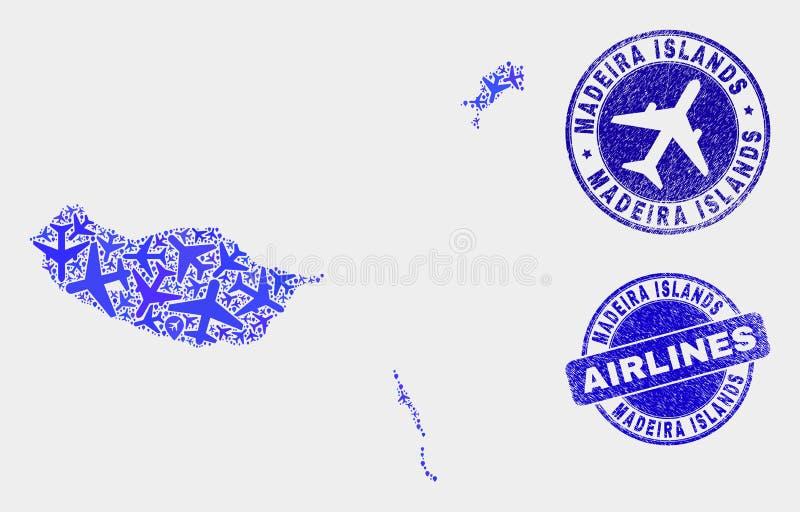 Les îles de la Madère de vecteur de collage d'avions tracent et les timbres grunges illustration stock