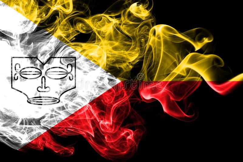 Les îles de Marquesas fument le drapeau, îles en français la Polynésie française illustration stock