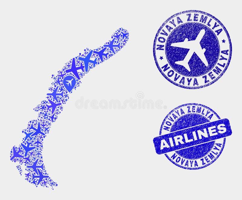 Les îles de Novaya Zemlya de vecteur de composition en ligne aérienne tracent et les joints grunges illustration stock