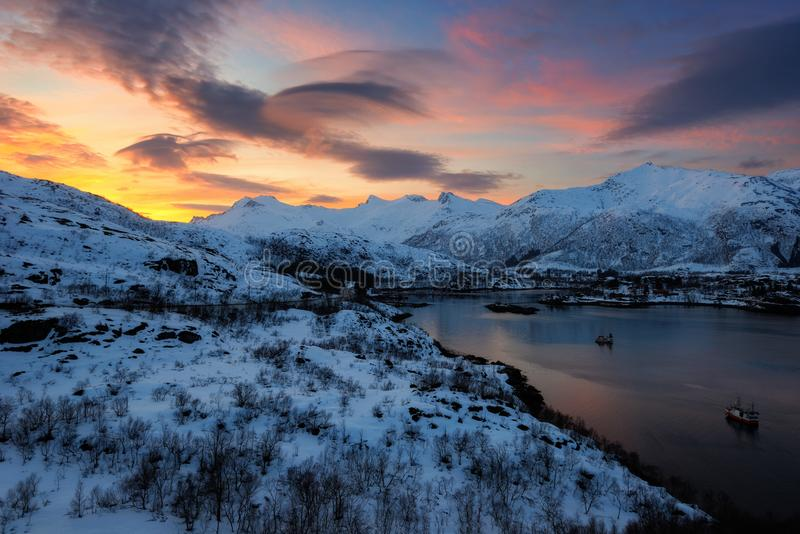 Les îles Norvège de Lofoten photo stock