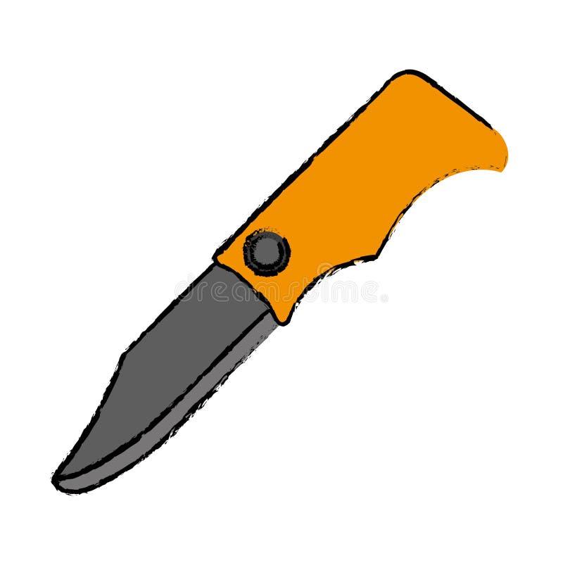 Les оборудования инструмента ножа звероловства чертежа располагаясь лагерем желтые иллюстрация вектора