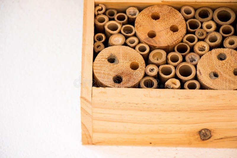 Les abeilles de maison d'abeille nichent le rondin en bois en bambou écologique photo stock