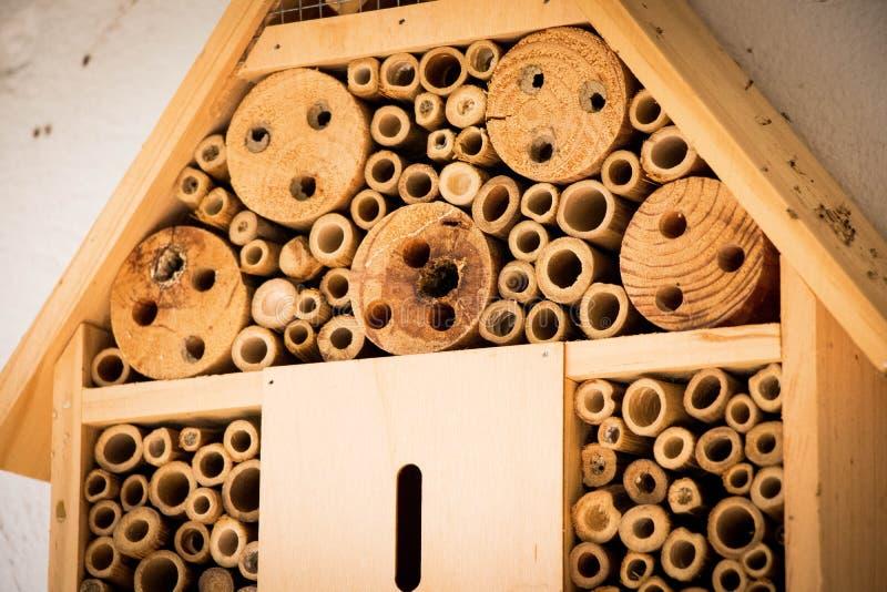 Les abeilles de maison d'abeille nichent le rondin en bois en bambou écologique photos libres de droits