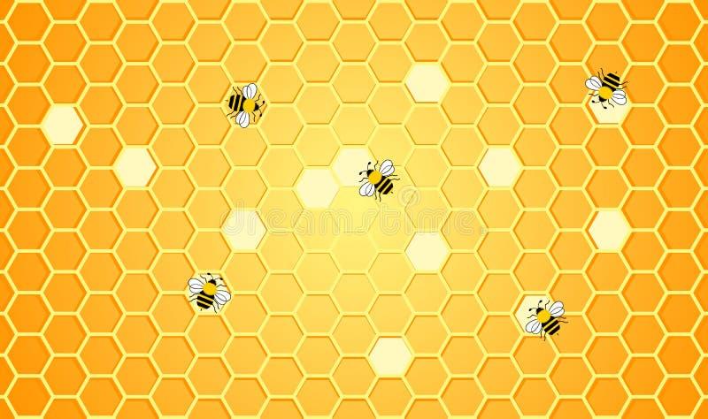 Les abeilles travaillent au fond de conception d'illustration de nid d'abeilles illustration libre de droits
