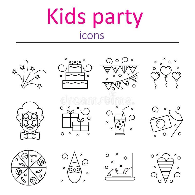 Les accessoires d'attributs boit le lieu de rendez-vous de divertissement pour des vacances du ` s d'enfants Ensemble d'icônes de illustration stock
